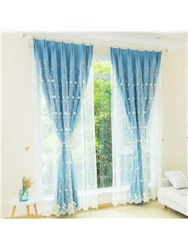 Pastoral Floral Custom Blackout Curtain Sets for Living Room Bedroom 2 Panels Set Physically Blocks Light Nicely Prevents UV Ray Excellent Performance on Room Darkening