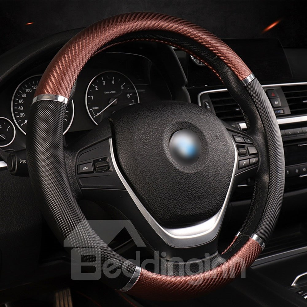 Steering Covers Carbon Fiber Metal Dynamic Handle Sleeve All Seasons Leather Summer Popular Style Breathable Comfortable Antiskid And Shock Absorption