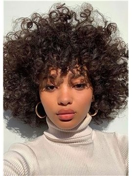 Afro Curly Capless Synthetic Hair 12 Inches 120% Wigs Heat Resistant Natural Looking Daily Party Wigs Cosplay Wigs with Natural Bangs with Free Wig Cap