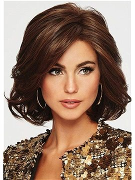 Capless Wavy Synthetic Hair Women 120% 14 Inches Wigs Heat Resistant Natural Looking Daily Party Wigs Cosplay Wigs with Natural Bangs with Free Wig Cap