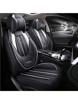 Stripe PU Sport Cotton Seat Cover Breathable Wear-resistant PU Leather Wear-resisting Scratch No Peculiar Smell Fresh Breathable Not Stuffy Airbag Compatible 5-seater Universal Fit Seat Covers With Headrest Pillow*2