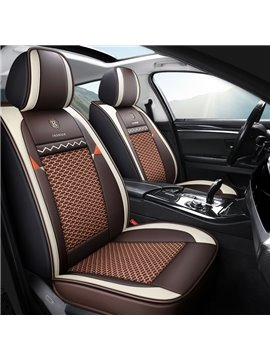 Polka Dots Ice Silk Pastoral Cotton Seat Cover Breathable Wear-resistant PU Leather Wear-resisting Scratch No Peculiar Smell Fresh Breathable Not Stuffy Airbag Compatible 5-seater Universal Fit Seat Covers