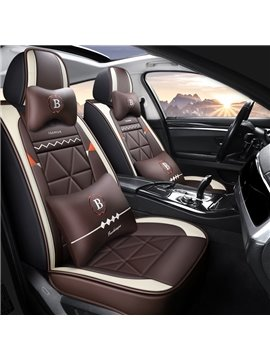 Geometric PU Pastoral Cotton Seat Cover Breathable Wear-resistant PU Leather Wear-resisting Scratch No Peculiar Smell Fresh Breathable Not Stuffy Airbag Compatible 5-seater Universal Fit Seat Covers With Lumbar Pillow*2 Headrest Pillow*2