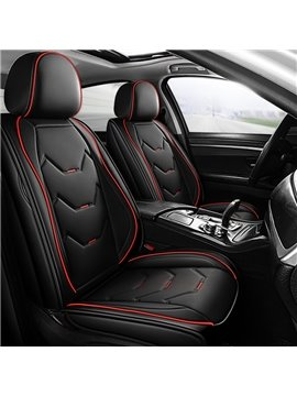 Geometric PU Business Cotton Seat Cover 5 Seats Wear Resistant Leather Material Stereoscopic Design Comfortable And Wrinkle Resistant Universal Fit Seat Covers