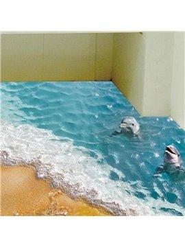 Blue Sea Dolphin Swimming in The Sea Splicing 3D Waterproof Floor Wall Murals