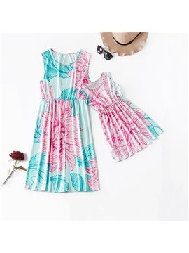 Mommy and Daughter Dress Summer Floral Dress Family Clothing Sleeveless Mother Me Parent-Child Outfits