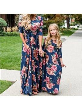 Mommy&Me Summer Family Matching Floral Dress Short Sleeve Stitching Dress Parent-Child A-line Dress