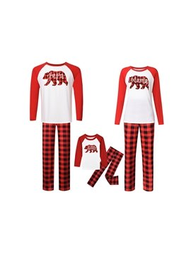 Family Couples Wear Deer Pattern Mom Daughter Dad Baby Long Sleeve Pants Paternity Plaid Red
