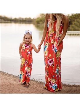 Mommy&Me Summer Family Matching Floral Dress Sleeveless Stitching Dress Parent-Child A-line Dress