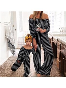 Mommy and Daughter Summer Family Clothing Mother Me Parent-Child Outfits That Show a Shoulder