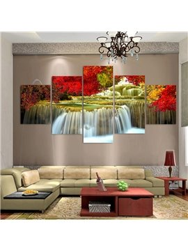 Red Leaves and Running Water Modern Spray Painting Landscape Calligraphy/Painting