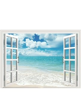 Modern 3D Blackout Roller Shades with Blue Sky and Sea Scenery No Pilling No Fading No off-lining