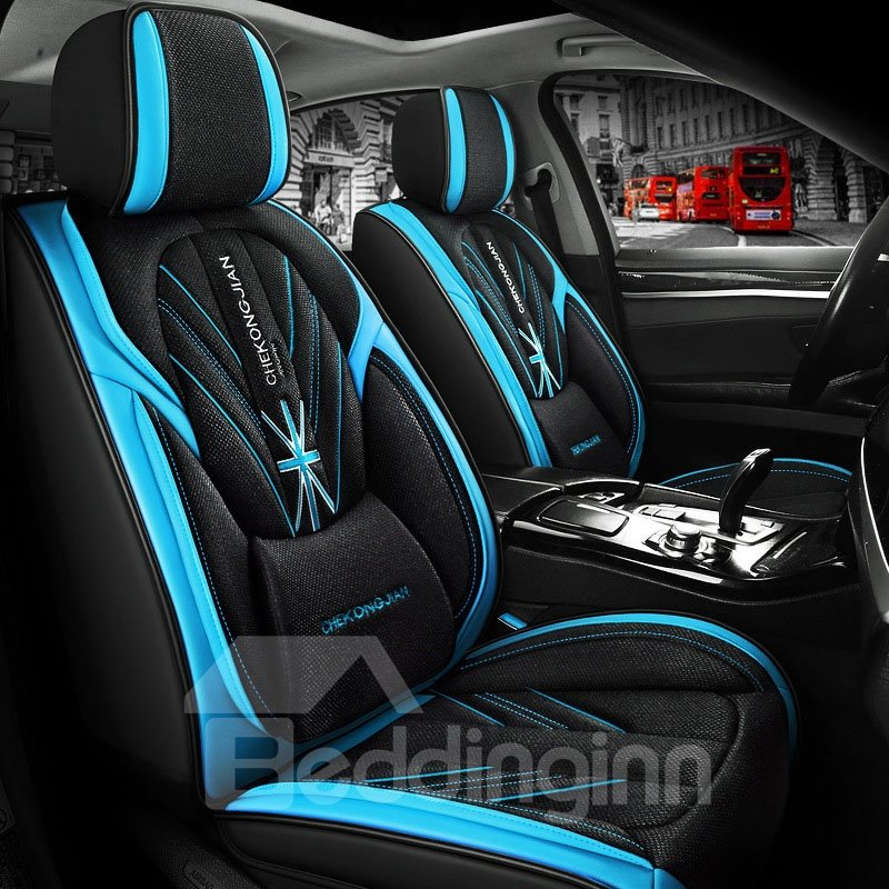 5-seater Universal Fit Seat Covers Leather Seat Cover Breathable Wear-resistant Business Style Wear-resisting Scratch No Peculiar Smell Fresh Breathable