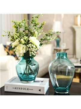 European-style Interior Decoration Pieces Of Colored Glass Vases, Water Culture, Green Plants, Flowers, And Artificial Flowers Arranged In The Living Room