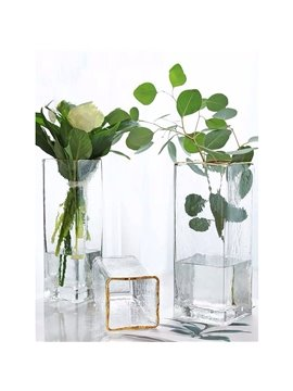 New Home Style Light Luxury Square Painted Gold Water Ripple Transparent Glass Vase Hand-made Flower Vases