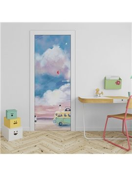 Cloud and Bus Cartoon Abstract Wall Stickers Door Stickers Murals Decal Self-Adhesive Removable Door Decals, 3D Wall Sticker Reusable Wallpaper
