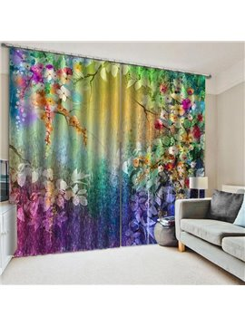 3D Colorful Floral Blackout Window Curtains for Living Room Bedroom No Pilling No Fading No off-lining Blocks Out 80% of Light and 90% of UV Ray