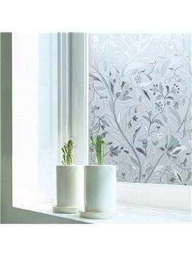 3D Floral No-glue Adiabatic Decorative Privacy Window Film Glass Static Sticker