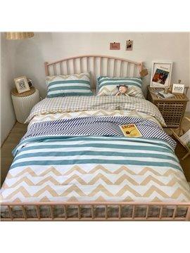 Plaid Stripes Wavy Geometry Reactive Printing Four-Piece Set Bedding Set Cotton Endurable Skin-frendly Bedding Sets