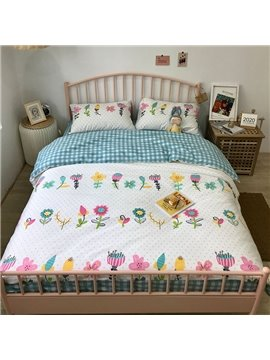 Cartoon Colourfull Flowers Four-Piece Set Reactive Printing Skin-friendly Endurable Bedding Set Cotton Bedding Sets