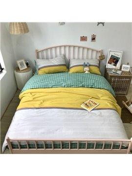 Colorful Striped Plaid Bedding Set Reactive Printing Four-Piece Set Cotton Bedding Sets