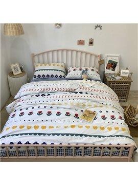 Red Flowers Sun Geometric Pattern Reactive Printing Bedding Set Durable Breathable Four-Piece Set Cotton Bedding Sets