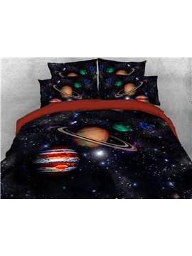 Galaxy Planet Star Solar System Pattern Super Soft Lightweight Four Size for Kids Adults All Season Reactive Printing Machine Wash Comforter Set Five-Piece Set Polyester Bedding Sets