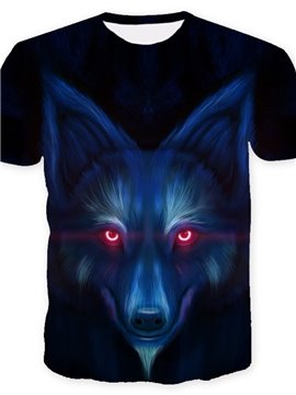 3D Wolf with Red Eyes Print Casual Round Neck Short Sleeves Men's T-shirt with Comfortable Breathable Fabric