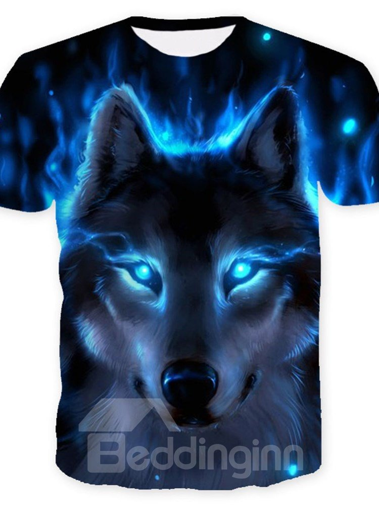 3D Cool Wolf with Blue Eyes Print Casual Round Neck Short Sleeves Mens T-shirt with Comfortable Breathable Fabric