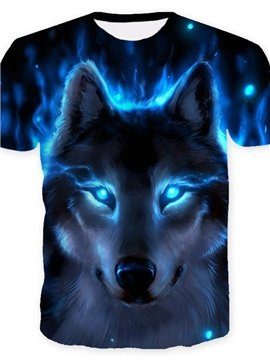 3D Cool Wolf with Blue Eyes Print Casual Round Neck Short Sleeves Men's T-shirt with Comfortable Breathable Fabric