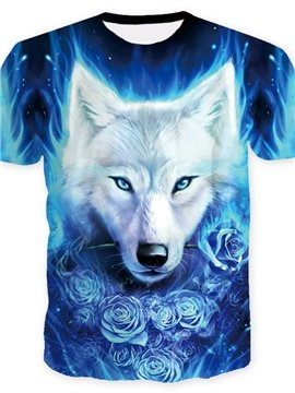 3D Wolf and Rose Print Casual Round Neck Short Sleeves Men's T-shirt with Comfortable Breathable Fabric