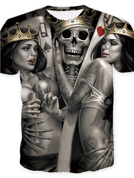 Cool Skull King with Beauties Print Casual Round Neck Short Sleeves Men's T-shirt with Comfortable Breathable Fabric