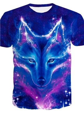 3D Wolf and Galaxy Print Casual Round Neck Short Sleeves Men's T-shirt with Comfortable Breathable Fabric