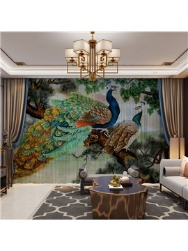 3D Luxury Peacock Print Sheer Curtains for Living Room 30% Shading Rate No Pilling No Fading No off-lining