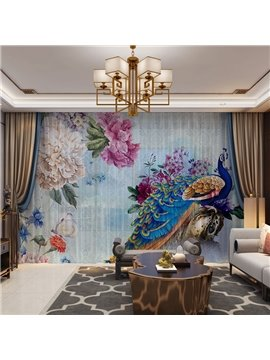 3D Peacock and Peony Print Sheer Curtains for Living Room 30% Shading Rate No Pilling No Fading No off-lining