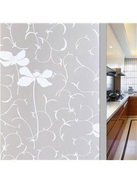 Adiabatic No-glue Privacy Decorative Window Film Pastoral Floral Glass Static Sticker
