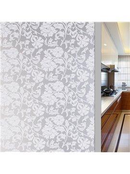 3D Elegant Floral Static Sticker Decorative Privacy No-glue Adiabatic Window Film