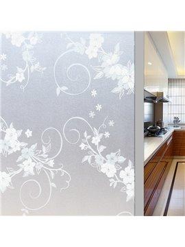 No-glue Adiabatic Privacy Window Film Decorative Floral Static Sticker