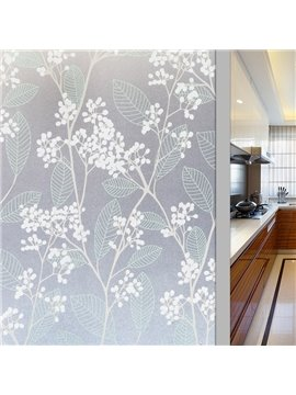Pastoral Style Floral Static Sticker Decorative Privacy No-glue Adiabatic Window Film