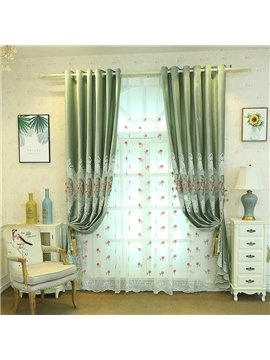 Pastoral Floral Embroidered Sheer Curtains for Living Room Custom 2 Panels Breathable Drapes No Pilling No Fading No off-lining