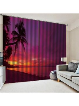 3D Beach Sunset Scenery Blackout Window Curtains for Living Room No Pilling No Fading No off-lining Drapes Blocks Out 80% of Light and 90% of UV Ray