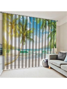 3D Summer Beach Blackout Window Curtains for Living Room No Pilling No Fading No off-lining Drapes Blocks Out 80% of Light and 90% of UV Ray