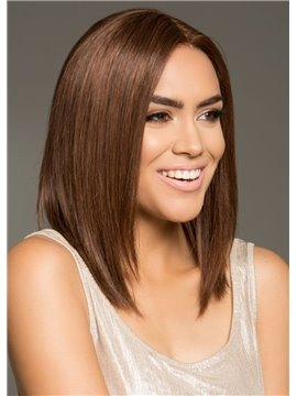 Silky Straight Human Hair Lace Front Cap Women 120% 14 Inches Wigs Heat Resistant Natural Looking Daily Party Wigs Cosplay Wigs with Natural Bangs
