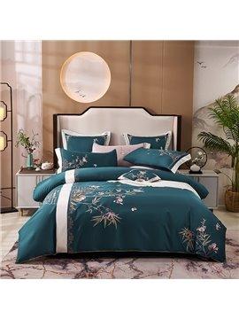 Vintage Style Plant Duvet Cover Set Four-Piece Set Embroidery Long Staple Cotton Bedding Sets