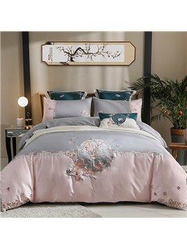 Floral Embroidery Four-Piece Set Duvet Cover Set Long Staple Cotton Bedding Sets Vintage 2 Pillowcases