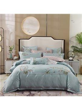 Embroidery Four-Piece Set Duvet Cover Set Long Staple Cotton Bedding Sets 2 Pillowcases