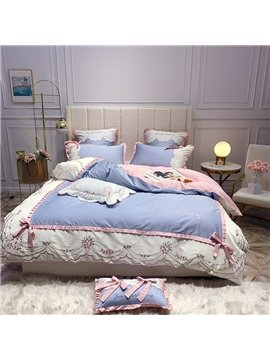 Princess Four-Piece Set Duvet Cover Set Embroidery Long Staple Cotton Bedding Sets Long Staple Cotton