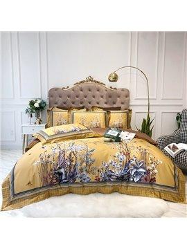 Floral Reactive Printing Duvet Cover Set European Four-Piece Set Cotton Bedding Sets 2 Pillowcases
