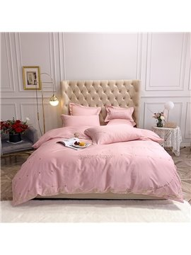 Princess Solid Color Pink Long Staple Cotton Four-Piece Set Embroidery Duvet Cover Set Long Staple Cotton Bedding Sets