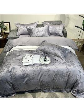 Jacquard Plant Four-Piece Set Duvet Cover Set Cotton Bedding Sets 2 Pillowcases